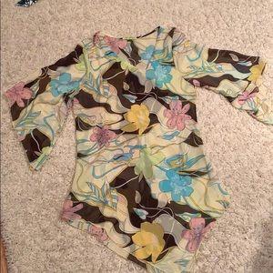 Vintage swim coverup bell sleeve botanical